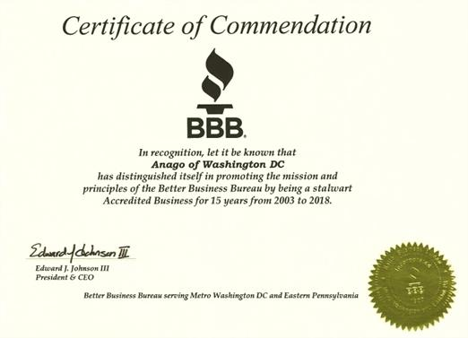 certificate of commendation from the BBB to Anago of Washington DC